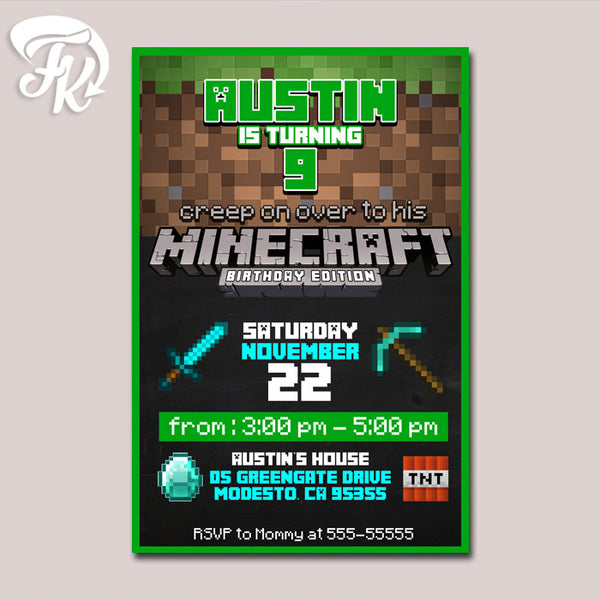 Minecraft Edition Birthday Party Card Digital Invitation