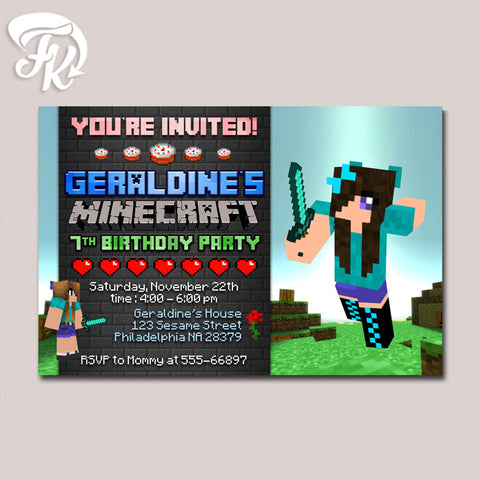 Minecraft Girls Design Birthday Party Card Digital Invitation