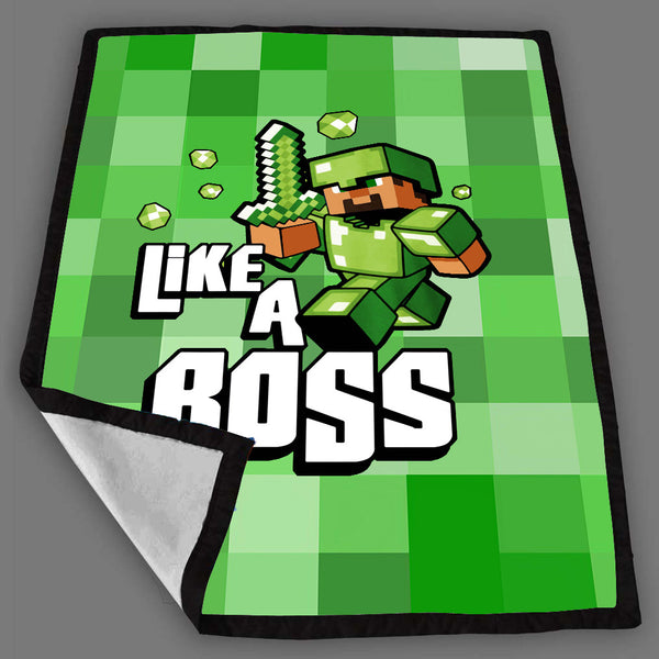 Minecraft Like a Boss Emerald Blanket Fleece Design Bedding Quilt Throw Blankets