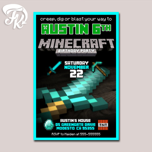 Minecraft Sword Birthday Party Card Digital Invitation