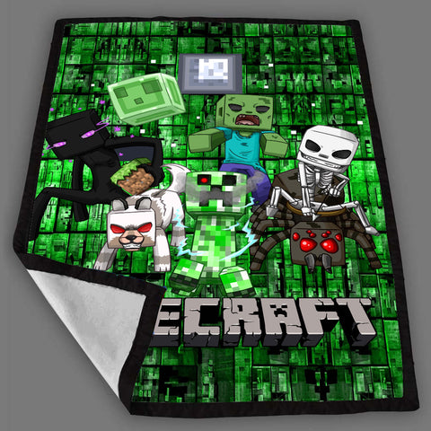 Minecraft Zombie Attact Blanket Fleece Design Bedding Quilt Throw Blankets