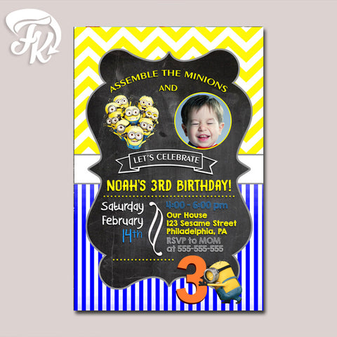 Minions Chevron Pattern Birthday Party Card Digital Invitation With Photo