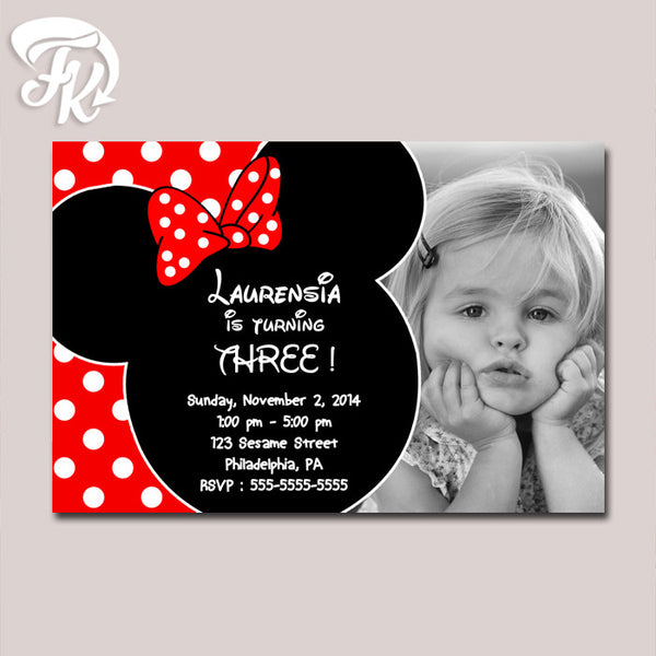Minnie Mouse Baby Girl Birthday Card Party Digital Invitation With Photo