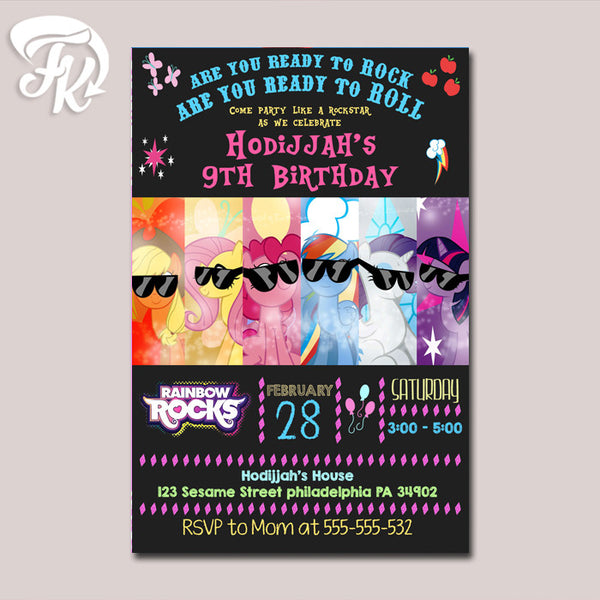 My Little Pony With Sunglass Birthday Party Card Digital Invitation