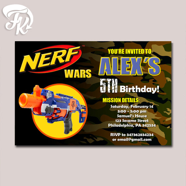 Nerf Wars Gun Battle Birthday Party Card Digital Invitation