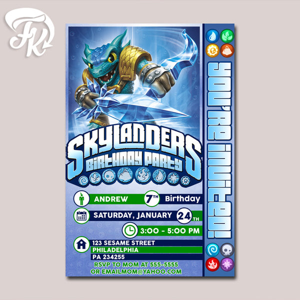 New Snapshoot Water Skylanders Birthday Party Card Digital Invitation
