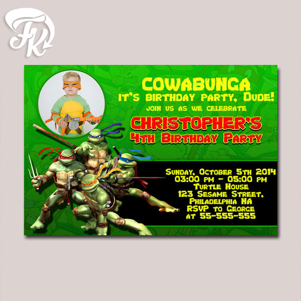 Ninja Turtle Ready to Fight Birthday Party Card Digital Invitation With Photo