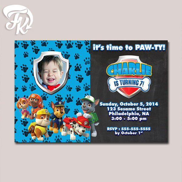 PAW Patrol Chalkboard Birthday Party Card Digital Invitation With Photo