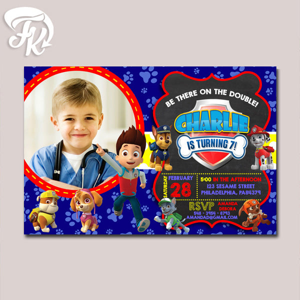 PAW Patrol Inspired Birthday Party Card Digital Invitation With Photo