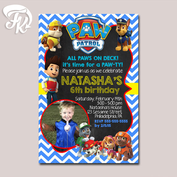 PAW Patrol New Chevron Inspired Birthday Party Card Digital Invitation With Photo