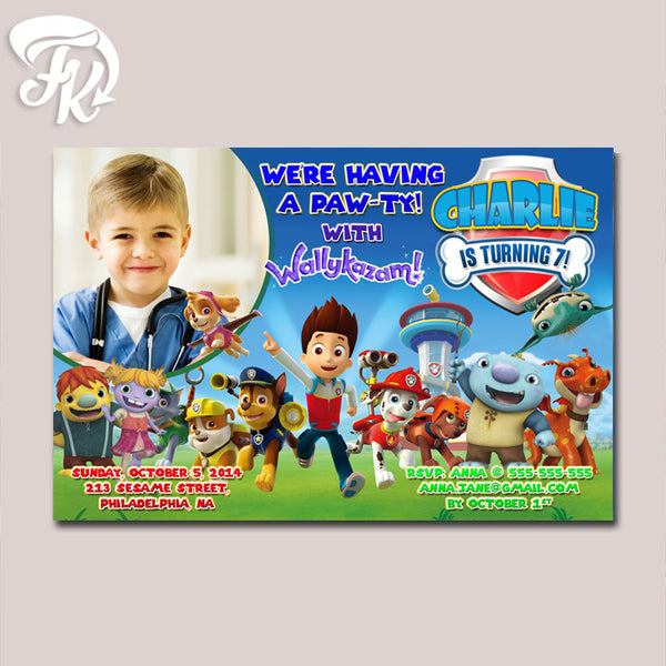 PAW Patrol Running Party with WALLYKAZAM Birthday Party Card Digital Invitation With Photo