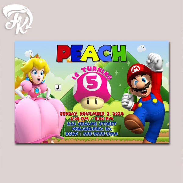 Peach and Mario Game Inspired Birthday Party Card Digital Invitation