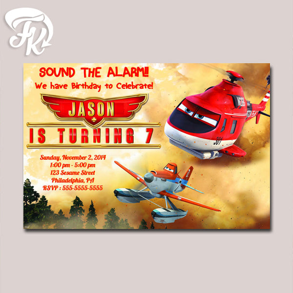 Planes Fire and Rescue Disney Birthday Card Party Digital Invitation