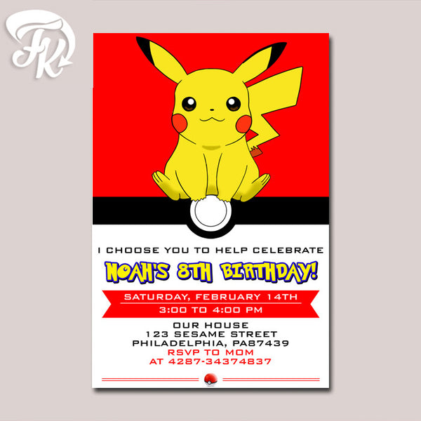 Pokemon Ball Pikachu Anime Birthday Party Card Digital Invitation