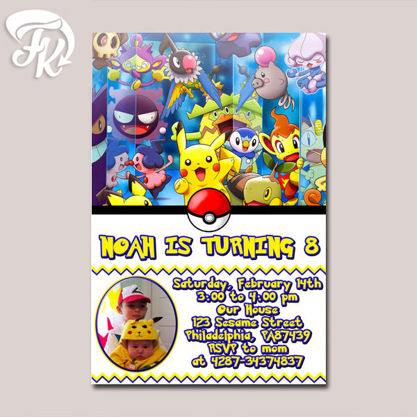 Pokemon Pikachu and Friends Birthday Party Card Digital Invitation With Photo