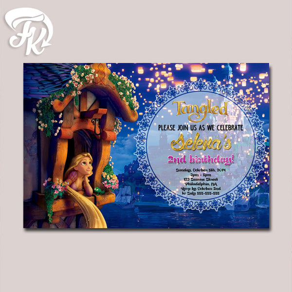 Rapunzel Tangled Night Lamp Birthday Party Card Digital Invitation