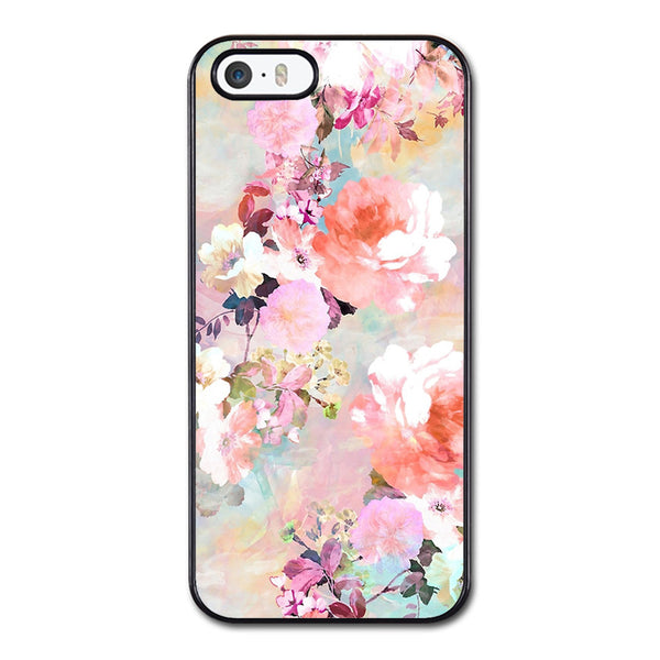 Romantic Pink Teal Watercolor Chic Floral Pattern Phonecase For iPhone 5/5S Case