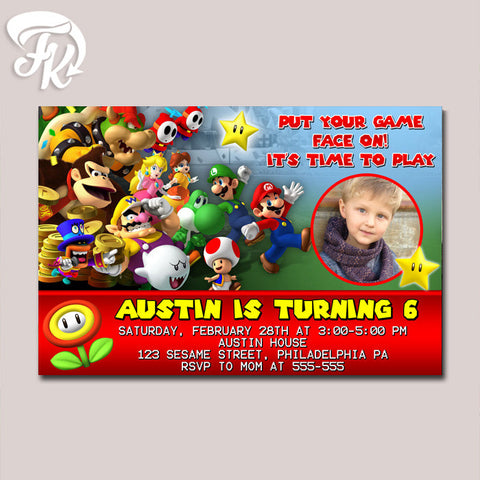 Super Mario Bros Lets Play Birthday Party Card Digital Invitation With Photo