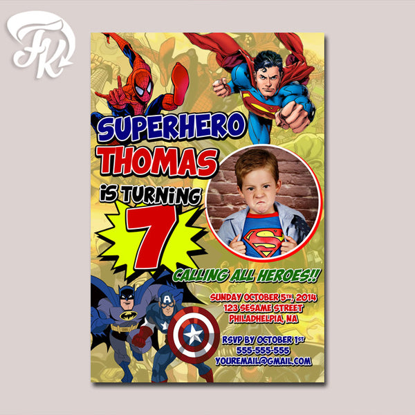 Superhero Comic Birthday Party Card Digital Invitation With Photo
