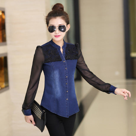 Shirt Long Sleeve V-neck Chiffon Lace Patchwork Jeans Shirt
