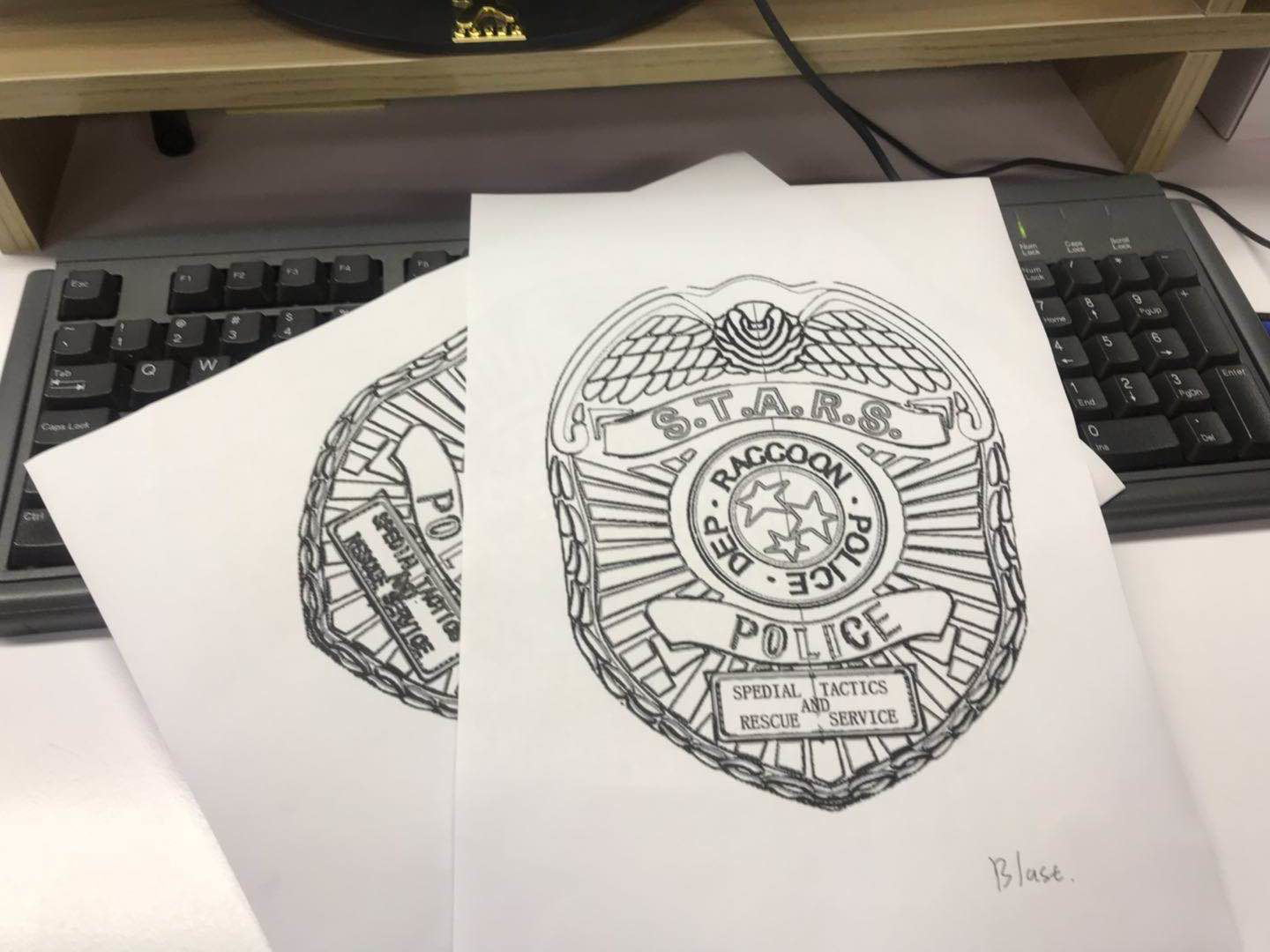Resident Evil 2 S.T.A.R.S. Badge sketch
