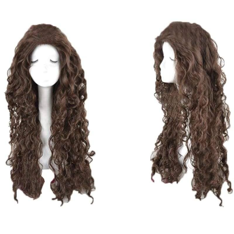 Bellatrix Lestrange Wig Harry Potter Movie Cosplay Long Brown Curly With Cap - Wigs 1