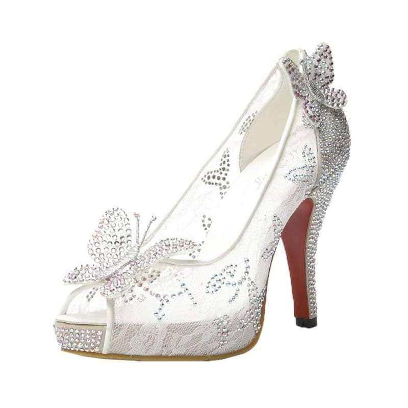 Cinderella Wedding High Heel Shoes Beautiful White Bowknot Lace Platform Pumps Sale Boots37(US 6)- Xcoser International Costume Ltd.