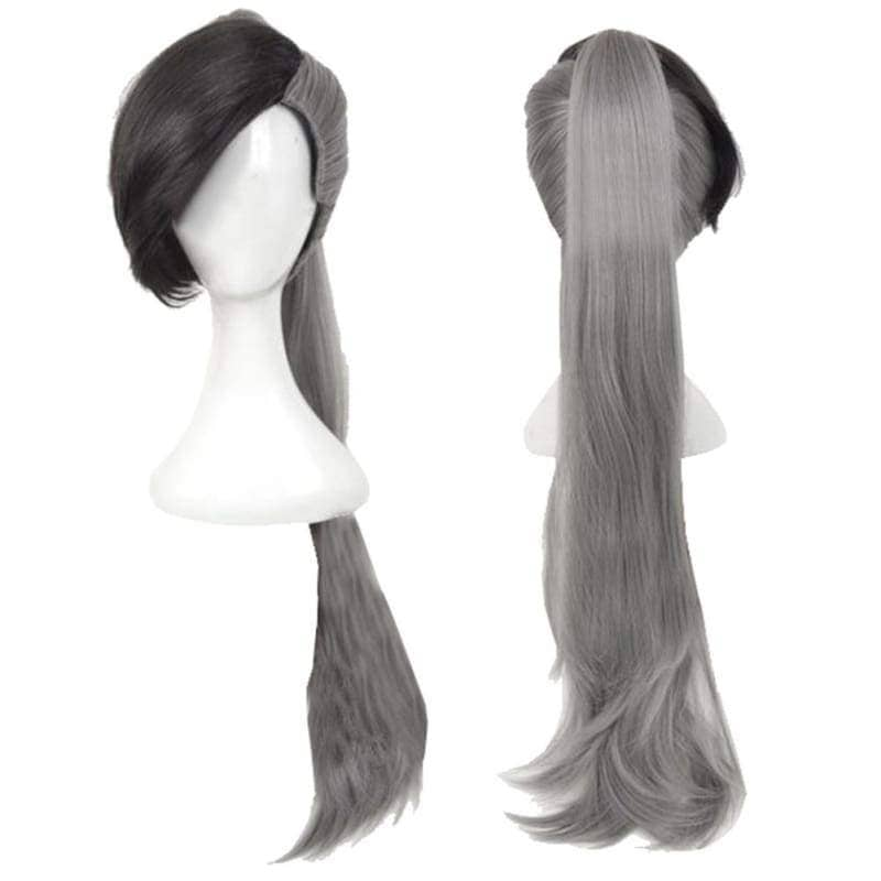 Fairy Tail Future Rogue Cheney Cosplay Long Gray Wig with Clip on Ponytail - Wigs 1