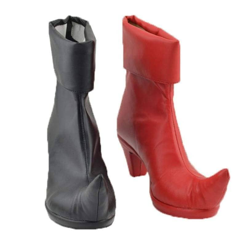 Harley Quinn Shoes Red Black Pu Boots Batman Cosplay Costume For Women - 2
