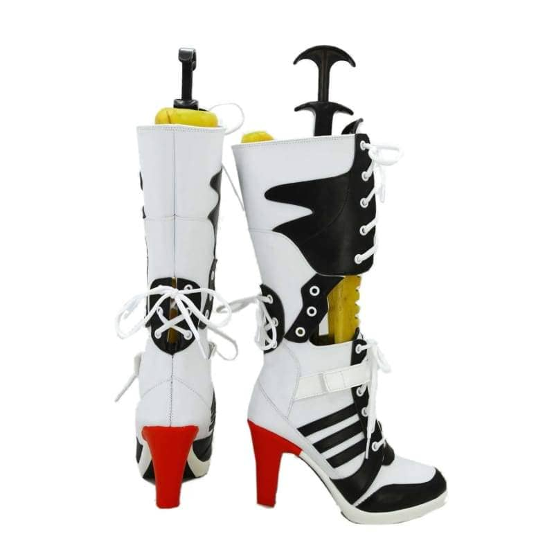 Harley Quinn Shoes Suicide Squad Cosplay Pu Knee High Boots Custom Made - 2