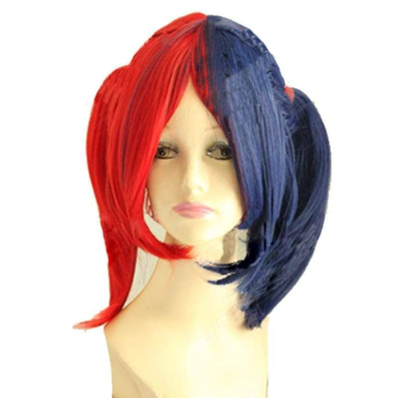 Harley Quinn Wig Arkham City Red Blue Cosplay - Wigs 1