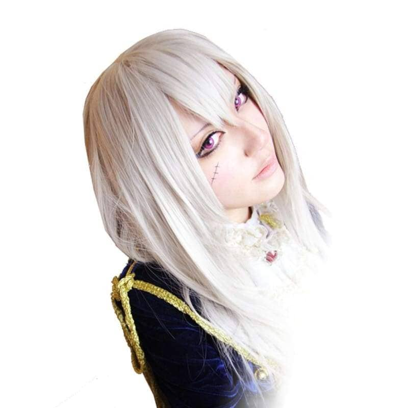 Hetalia Prussia Wig Axis Powers Julchen Beillschmidt Cosplay Silvery White Long Straight Hairpiece - Wigs 1