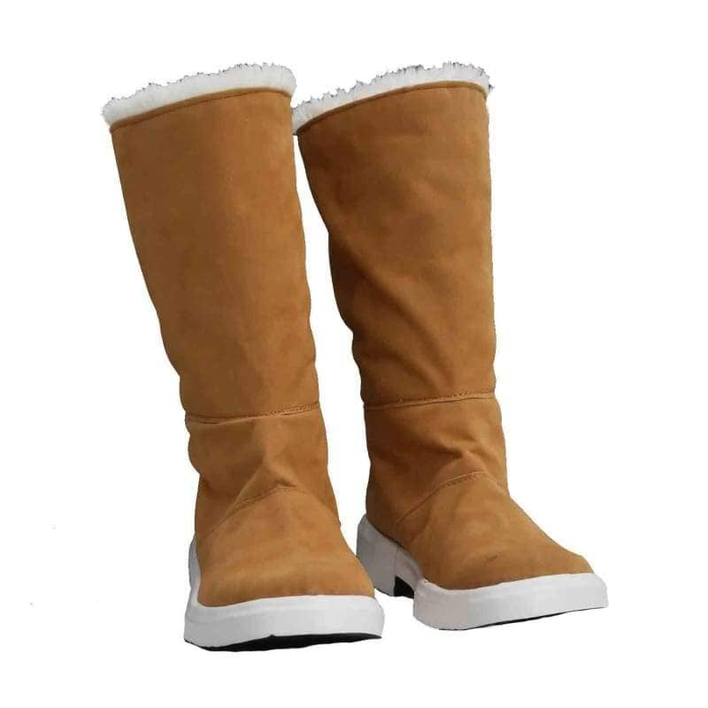 Hinazuki Kayo Shoes Boku Dake Ga Inai Machi Anime Cosplay Brown Faux Suede Flat Knee High Boots - 42(Us 9) - 1