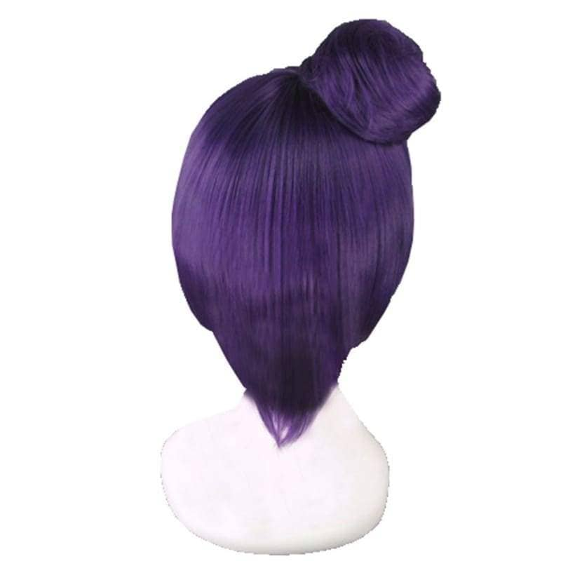 Konan Wig Naruto Cosplay Short Dark Purple Pre-Styled Anime Costume With Buns - Wigs 2