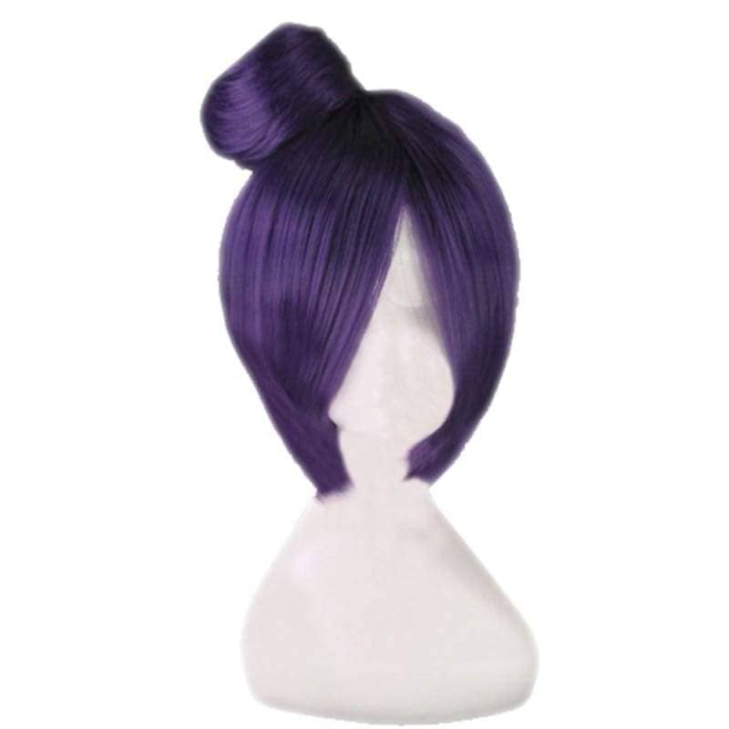 Konan Wig Naruto Cosplay Short Dark Purple Pre-Styled Anime Costume With Buns - Wigs 1