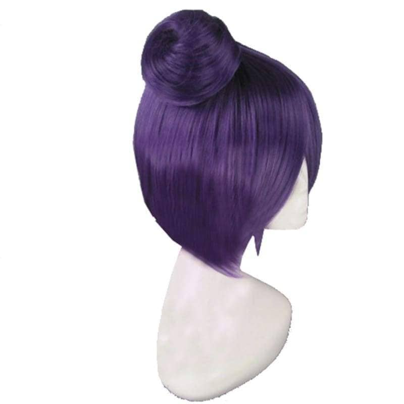 Konan Wig Naruto Cosplay Short Dark Purple Pre-Styled Anime Costume With Buns - Wigs 3
