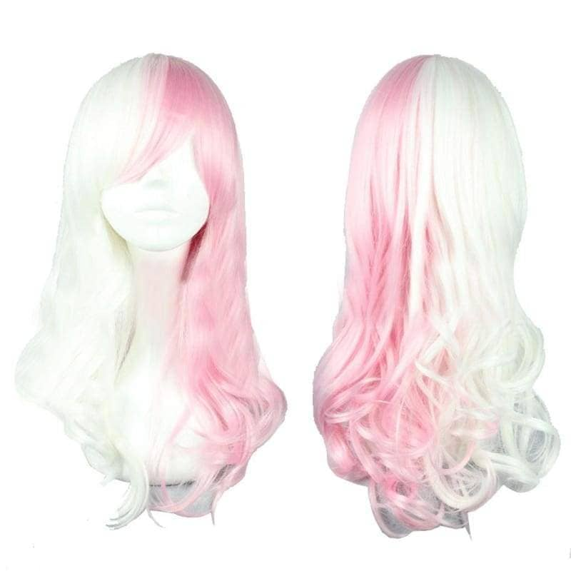 Monomi Wig Danganronpa Cosplay Long Wavy Pink White Mixed Color Anime - Wigs 1