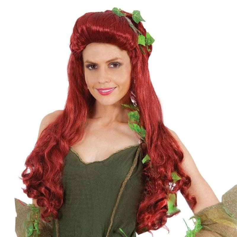 Poison Ivy Cosplay Batman Synthitic Fiber Womens Long Red Curly Party Wig - Wigs 1