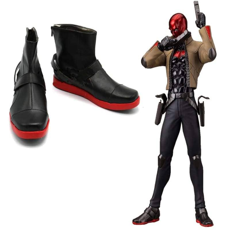Red Hood Shoes Batman Under The Jason Todd Cosplay Leather - Boots 4
