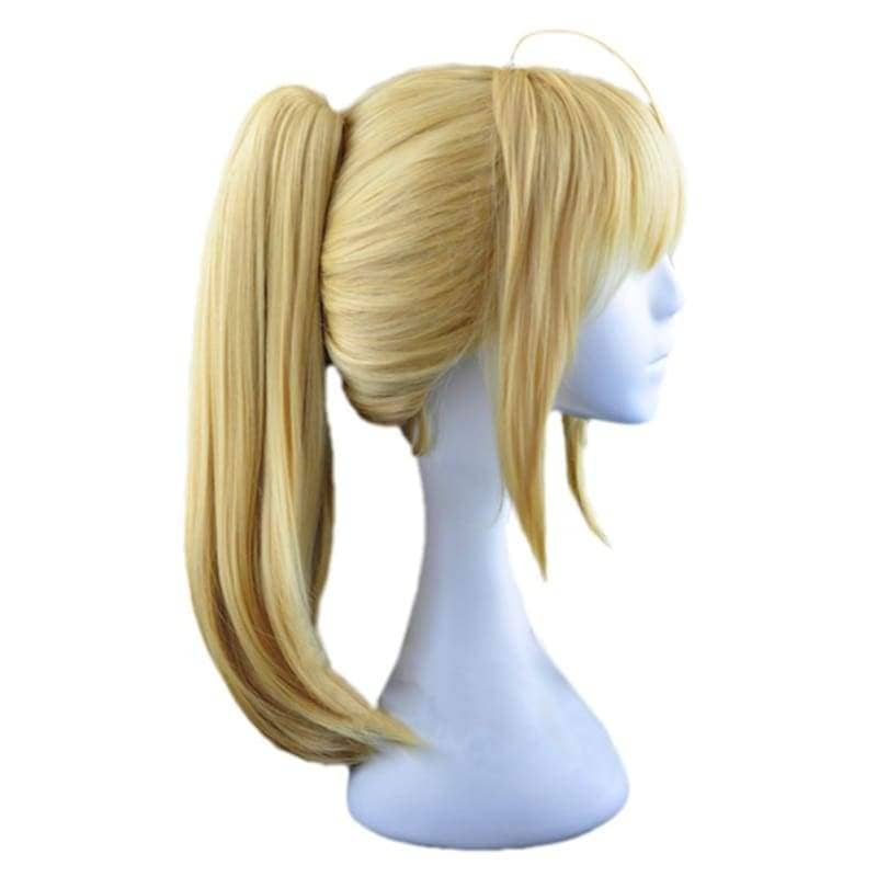 Saber Lily Wig Fate Stay Night Cosplay Short Golden Anime Party With Ponytail - Wigs 2
