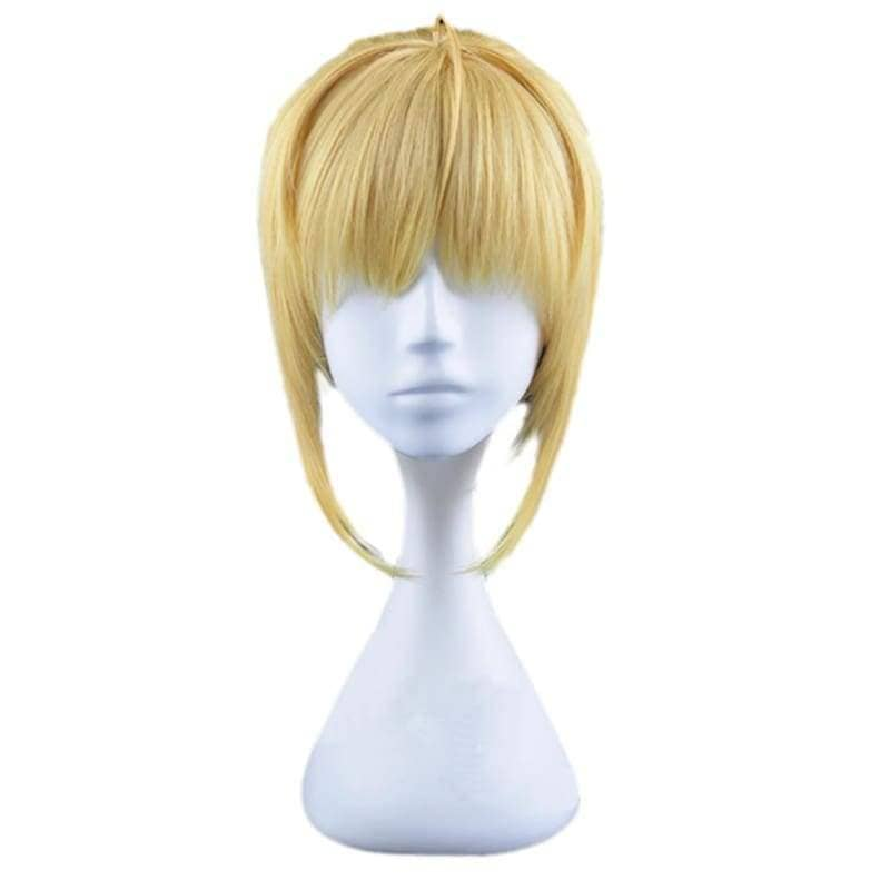 Saber Lily Wig Fate Stay Night Cosplay Short Golden Anime Party With Ponytail - Wigs 1