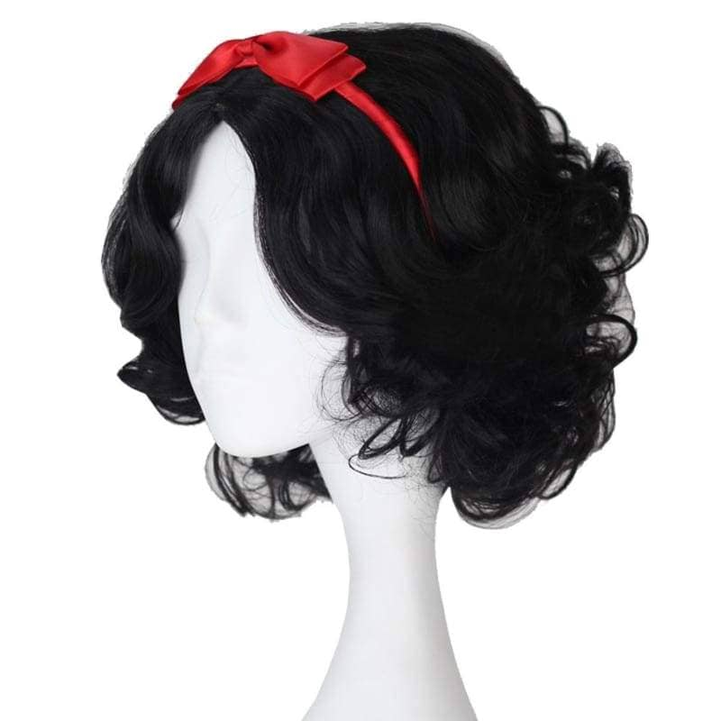 Snow White Wig Disney Princess Short Curly Black Synthetic Cosplay Anime With Red Headwear - Wigs 3