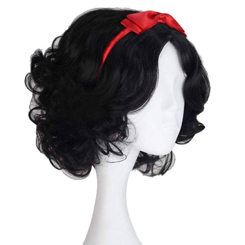 Snow White Wig Disney Princess Short Curly Black Synthetic Cosplay Anime With Red Headwear - Wigs 4