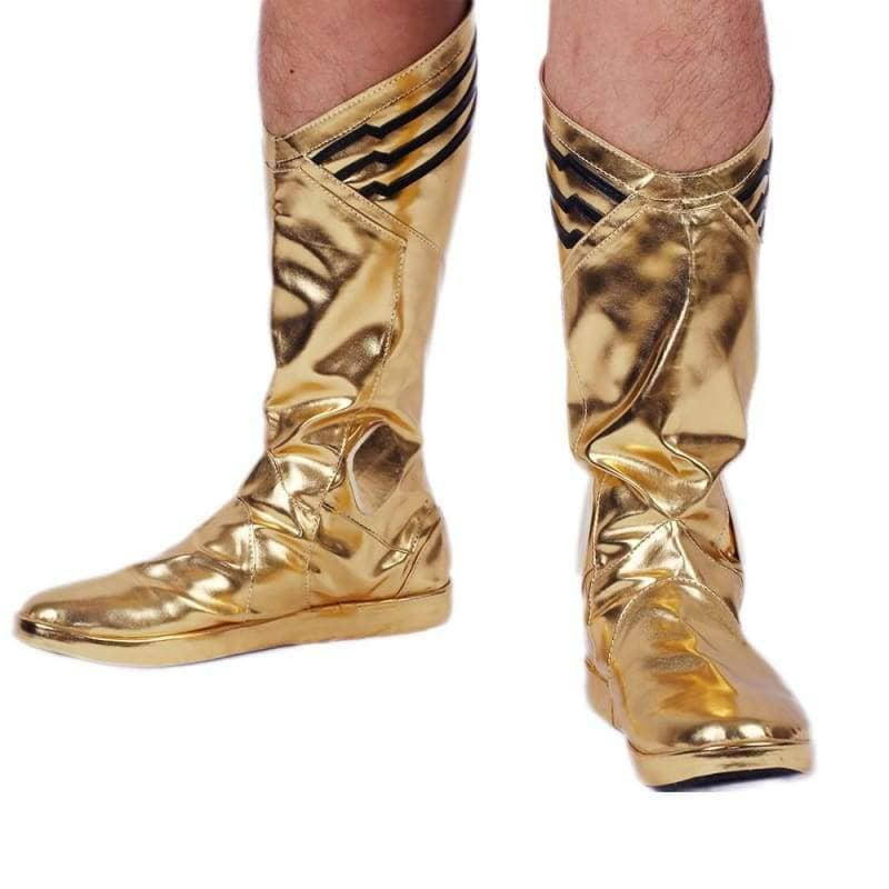 The Flash Comic Boots Bright Golden Pu Cosplay Shoes - 1