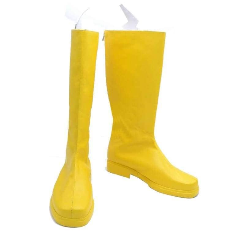 The Flash Cosplay Boots Yellow Pu With Logo - Custom Made - 3