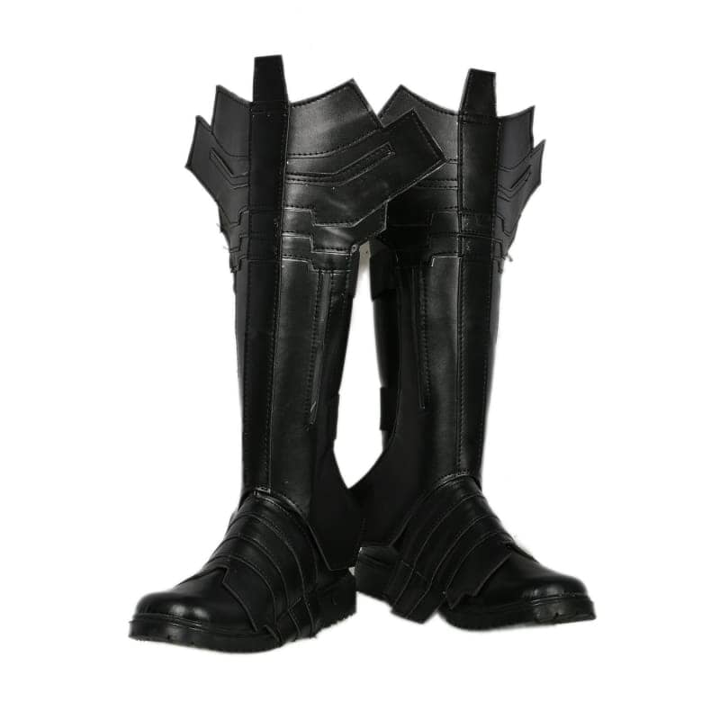 Xcoser Batman Combat Boots Deluxe Black Leather Cosplay Shoes - 2