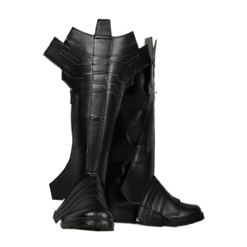 Xcoser Batman Combat Boots Deluxe Black Leather Cosplay Shoes - 5