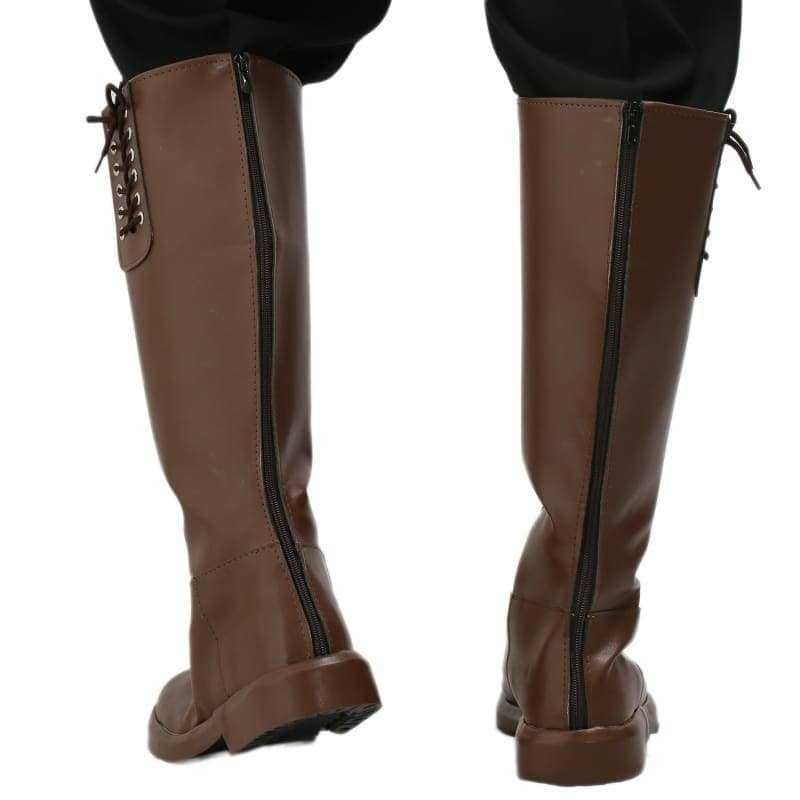Xcoser New Arrival The Rocketeer Cliff Secord Cosplay Shoes Brown Pu Knee-High Boots For Halloween And - 5