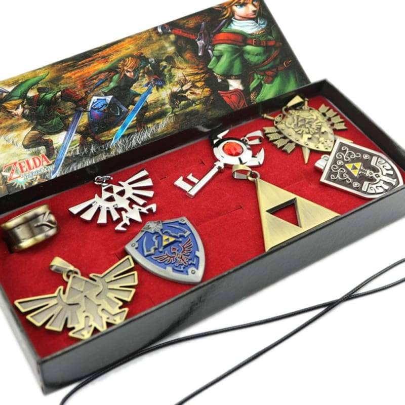 Xcoser The Legend Of Zelda Necklace Keychain Ring Pendant Shield 8Pcs Set In Box For Cosplay - Props 2