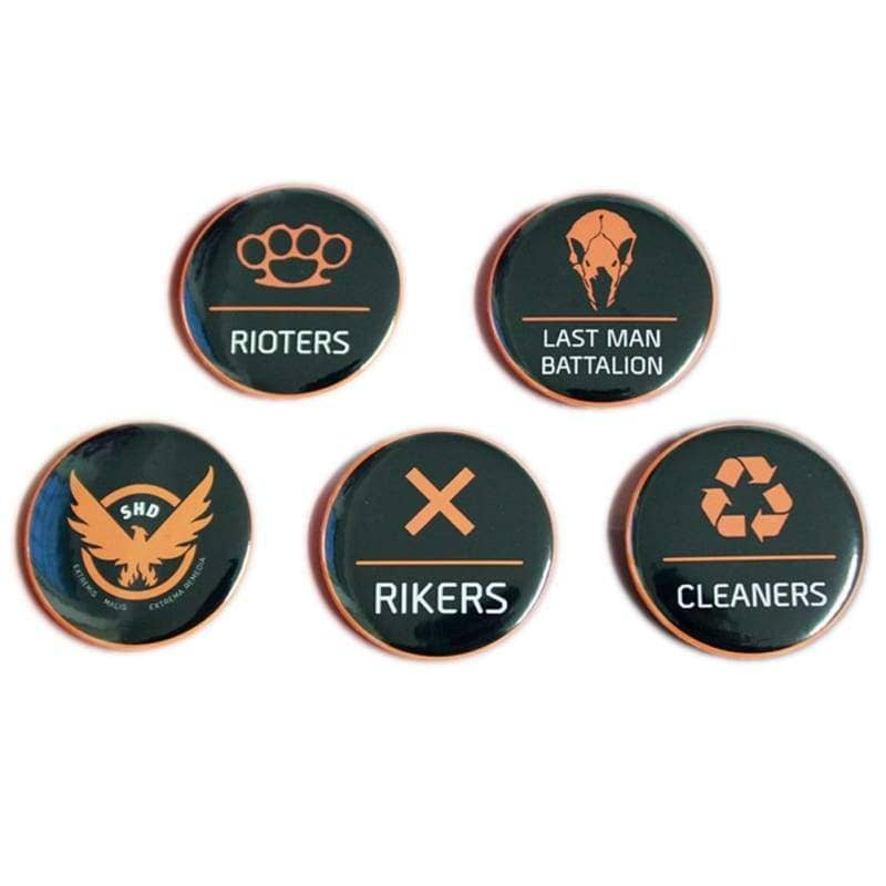 Xcoser Tom Clancys The Division Camp Logo Badge Brooch Collectible 5Pcs Set - Props 3